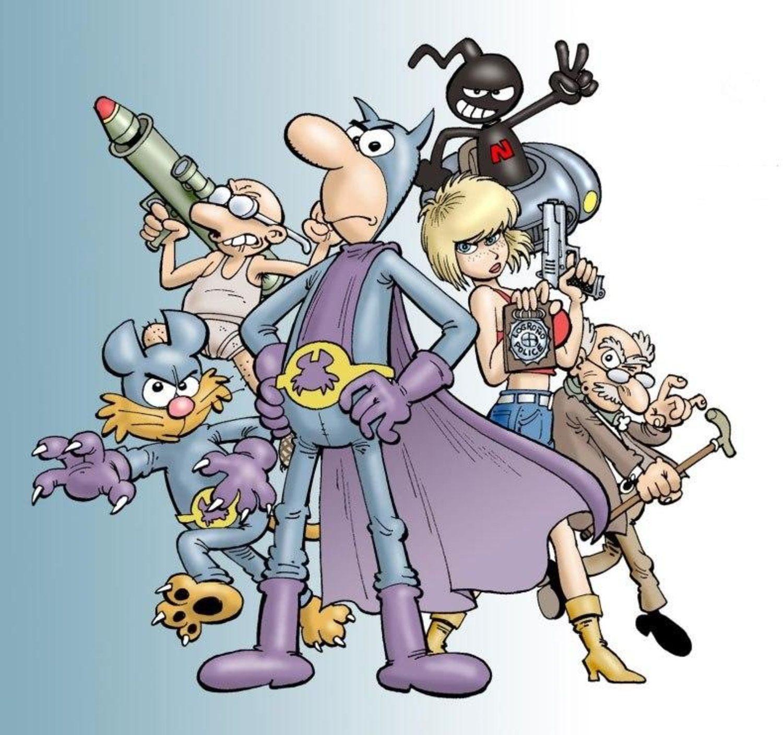Pafman junto a los personajes que formaron sus nuevas historias.