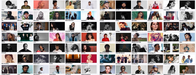 Muestra de artistas de Interscope. Uno de los sellos más privilegiados del mundo