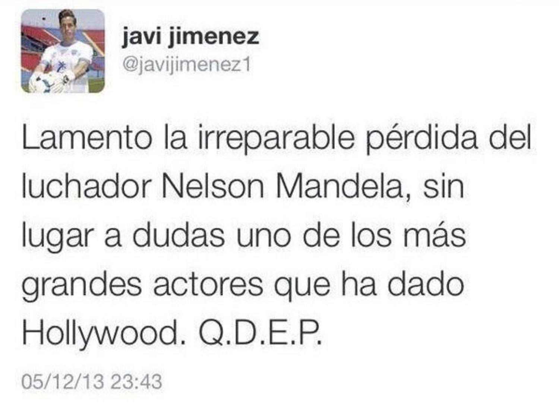 Tuit de Javi Jiménez tras el fallecimiento de Nelson Mandela, en 2013