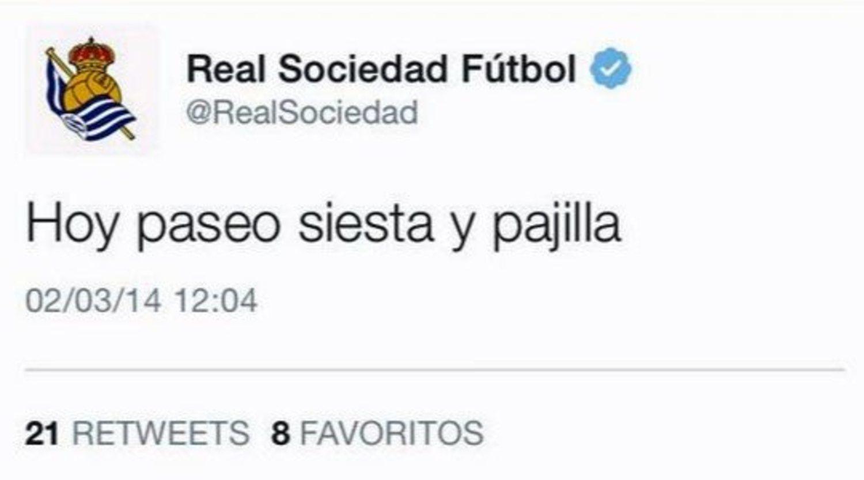 El extraño tweet que apareció en 2014 en el Twitter de la Real Sociedad