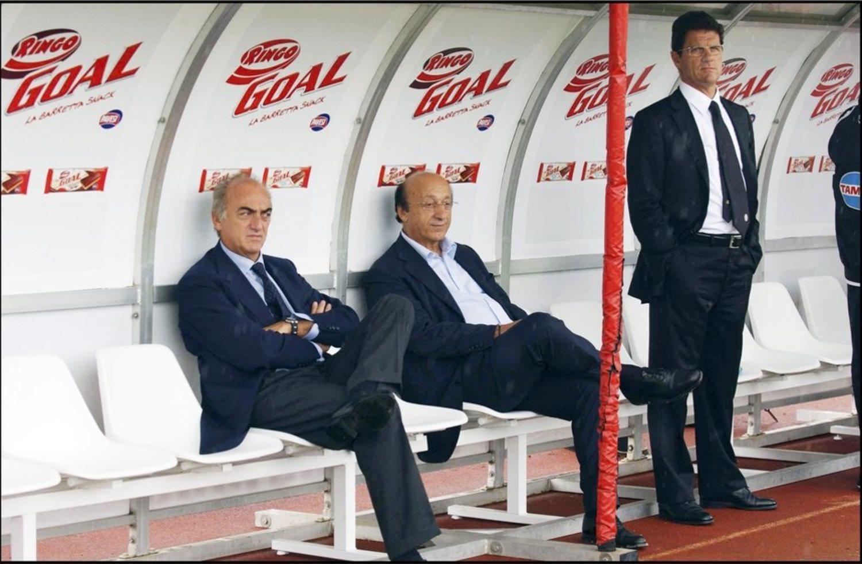 Antonio Giraudo (director deportivo), Luciano Moggi (presidente) y Fabio Capello (entrenador) de aquella Juventus