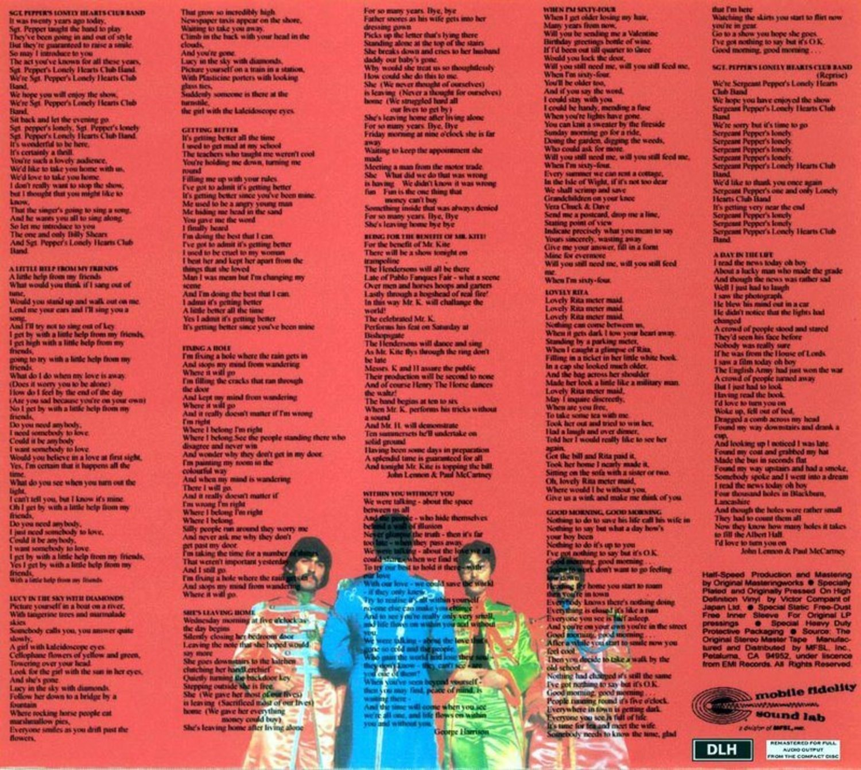 En 'Sgt. Pepper's...' pudimos leer las letras por primera vez.