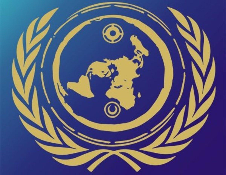 El escudo del equipo es una imagen de la Tierra plana y laurel alrededor