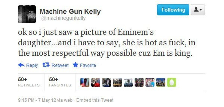 El tweet de Machine Gun Kelly que inició el beef.