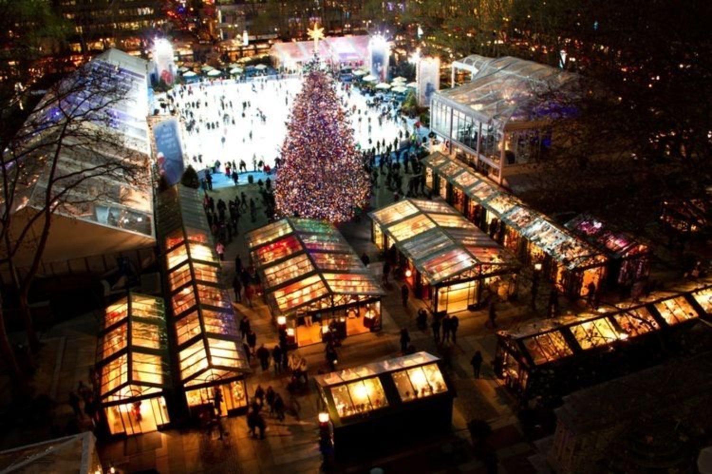 Winter Village es el nombre del mercado navideño situado en Bryant Park en Nueva York.