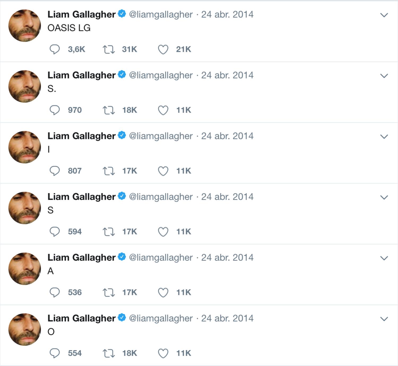 Se nota que Liam Gallagher lleva personalmente su cuenta de Twitter