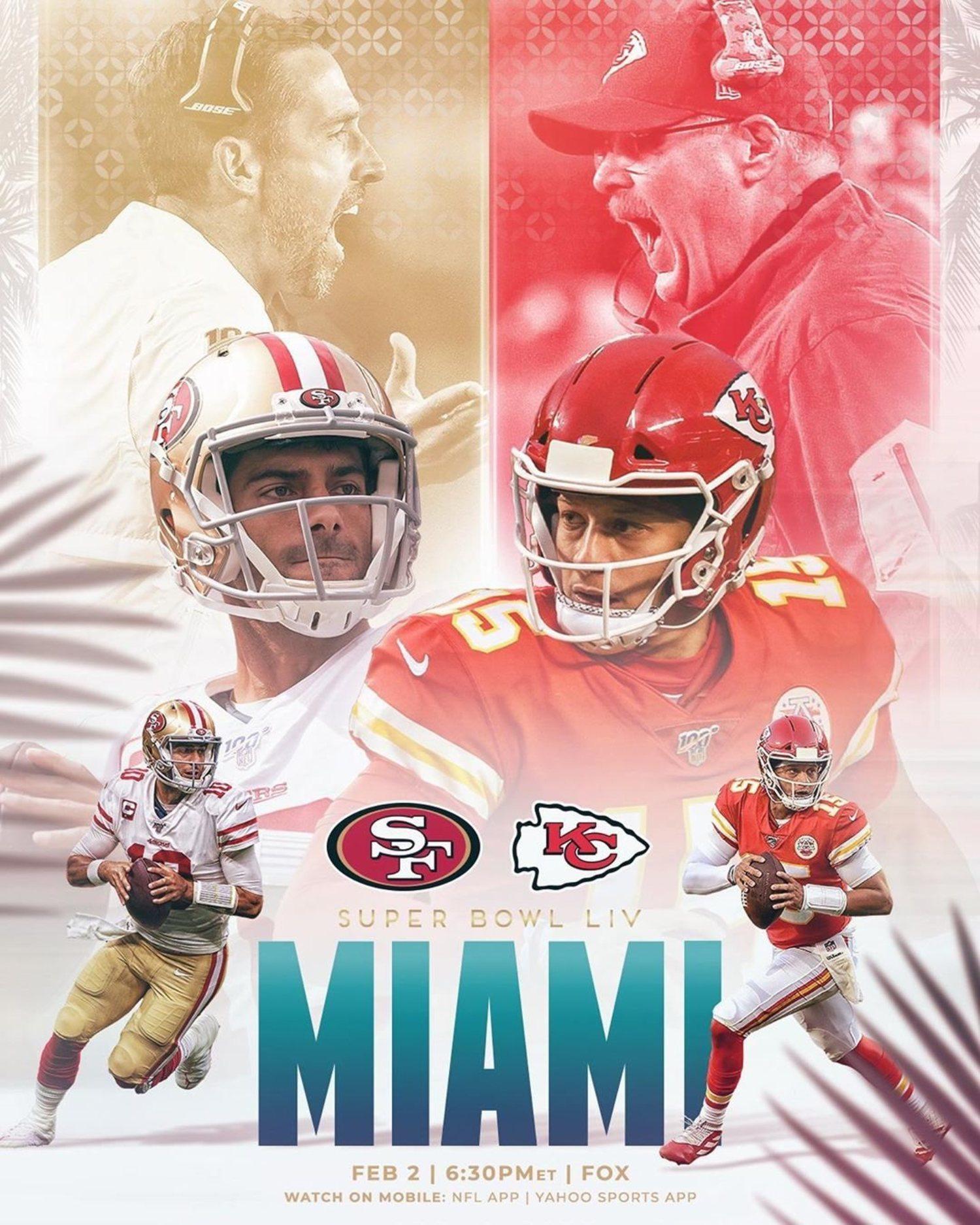 San Francisco 49ers y Kansas City Chiefs son los equipos que lucharán por el título en 2020