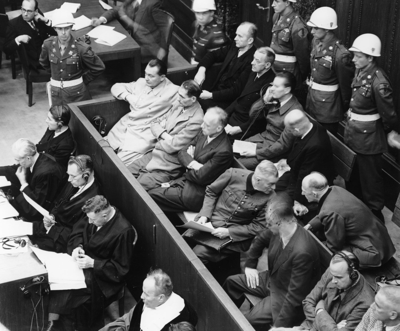 Algunos de los criminales nazis durante los Juicios de Nuremberg.